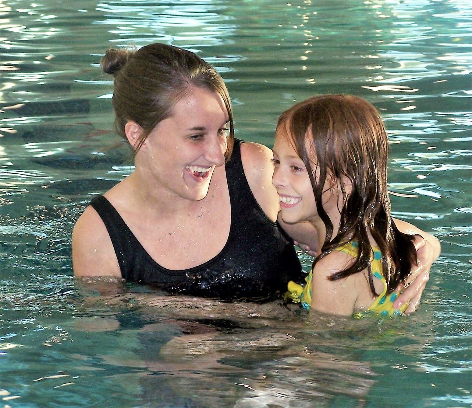 Mom-Daughter in the indoor pool
