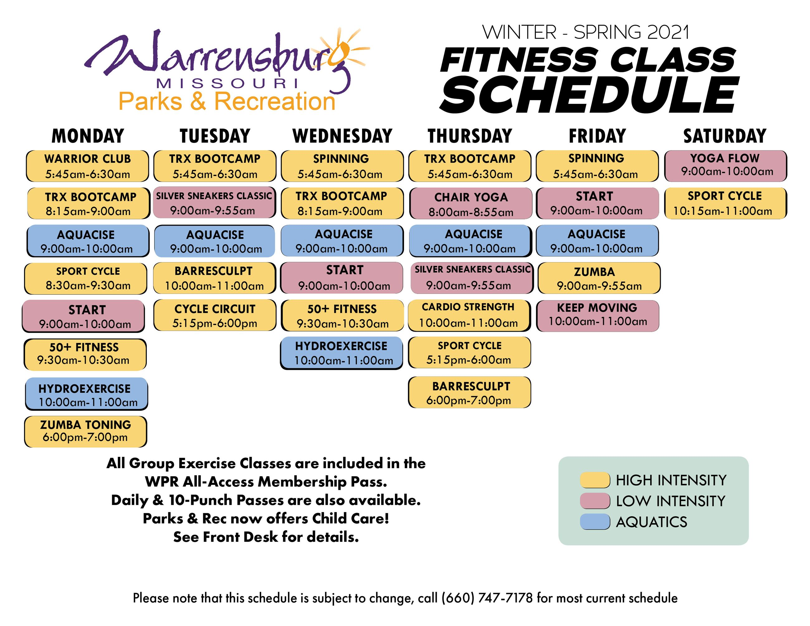 Fitness Class Schedule Winter-Spring 2021 page 1 12-29-20