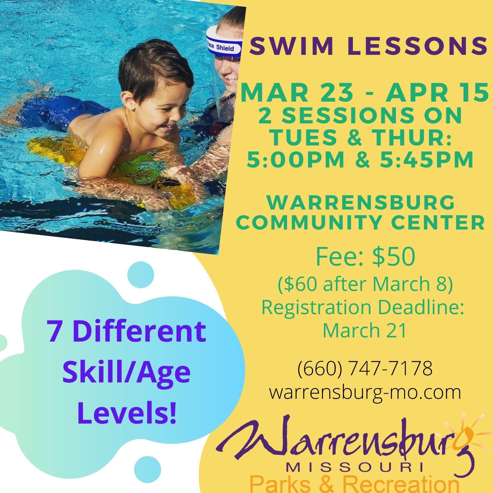 Group Swim Lessons Spring 2021 3rd Session